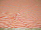 Discount Fabric Lycra Spandex 4 way stretch Orange and White Stripe 603LY
