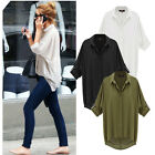 Womens Casual Short Sleeve Down Collar Oversize Loose Chiffon T Shirt Top Blouse