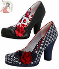 RUBY SHOO EVA TEXTILE oslo SHOES heels BLACK polka SPOTS or NAVY BLUE