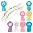 BABY SHOWER PARTY SASHES & RIBBON ROSETTE - Pink, Blue, Yellow, unisex, girl,boy