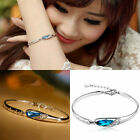 Fashion Crystal Jewelry Silver Plated Chain Bangle Cuff Women Charm Bracelet