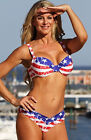American USA Flag Halter Padded Bandeau Stars Stripes Bikini Patriotic Swimsuit