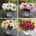 1 Bouquet Artificial Rose 12 Head Silk Flower Leaf Wedding Garden Decor Party