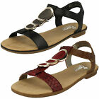 Ladies Rieker 64278 Black Or Red Combination Strappy Sandals