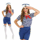 Ladies Sassy Sailor Girl Costume Sexy Navy Military Fancy Dress Outfit Womens