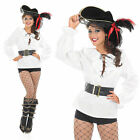 Ladies White Pirate Shirt Fancy Dress Costume Of The Caribbean Top UK 8-30