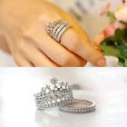 2pcs/Set  Rhinestone Crown Queen Band Silver Plated White Crystal Rings FMGA