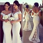 Women Elegant White Lace Off Shoulder Backless Bridesmaid Ball Gown Maxi Dresses