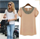 Fashion Womens Ladies Chiffon Short Sleeve T Shirt Casual Tops Beads Blouse 2016