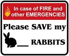 In Case of Fire Save My Rabbits Decals / Stickers