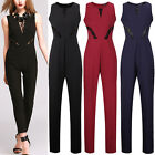 New Womens Tie Bow Bodysuit Striped Long Sleeve Leotards Plunge Jumpsuits Romper