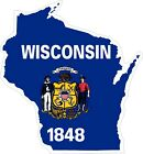 Wisconsin Map Flag Decals / Stickers