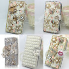 Full Bling Diamond Jewelled Crystal Leather Flip Wallet Card Case Stand Cover