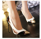 Women Pointed Toe Hollow High Heel Stilettos Faux Leather Mix-color Shoes Party