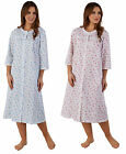 Ladies Floral Dressing Gown Button Through Lace Trim 3/4 Sleeve Polycotton Robe
