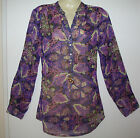 NEW VERO MODA PURPLE PINK MIX CHIFFON TUNIC TOP BLOUSE NEHRU COLLAR 3/4 SLEEVE