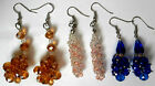 GORGEOUS SELECTION OF HAND MADE GLASS FACETED BEAD DANGLE EARRINGS UK DELIVERY