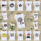 Free size Womens Printed Sleeve Plain Stretch Vest Tee T Shirt Mini Crop Top US