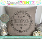 PERSONALISED SURNAME RESIDENCE CANVAS CUSHION ANNIVERSARY WEDDING NEW HOME GIFT