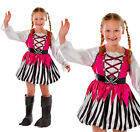 Childrens Pink Pirate Girl Fancy Dress Costume Buccaneer Outfit 3-8 Yrs