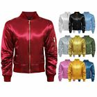 Womens Ladies Ma1 Retro Satin Army Flight Vintage Military Bomber Biker Jacket