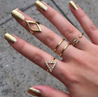 4 PCs Fashion Women Jewelry  Gold Plated Rhinestone Ring Set Gift SIZE 5~10