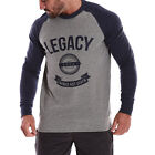 New Mens crew neck long sleeve contrast pullover sweater fleece cotton jumpers