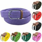 Unisex Leather Braided Woven Elastic Causal Pin Buckle Travel Waistband Belt