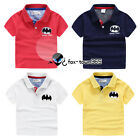 Summer Toddlers Boy Baby Child Kids Chest Batman Polo Short Sleeve T-shirt 2-8Y