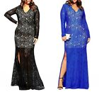 Sexy Deep V-Neck Lace Long Sleeve Maxi Ball Gown Slit Plus Size Dress Blue/Black