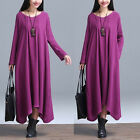 New Retro Women Ladies Casual Linen Cotton Caftan Loose Long Sleeve Dress Size