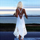 Women Sexy White Lace Dress Summer Beach Irregular Loose Backless Party Sundress