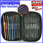 Aluminum Crochet Hooks Needles Knit 22pcs Set Weave Craft Yarn Multi Color NEW