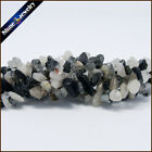 "1/2/5 PCS 36"" Strand Natural Black Rutilated Quartz Chip Gems Loose Beads 5-8mm"