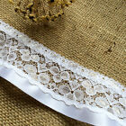"""White Gathered Frilled Ribbon Nottingham Lace Trim 5.5 cm/2.25"""" Cot Cover Craft"""