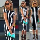 New Womens Black Long Stripped Dress Short Sleeve Bodycon Crew Neck OL Workwear
