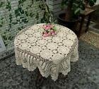 Square 16'' 20'' 56'' Beige Handmade Cotton Crochet Lace Tablecloth Doilies B01