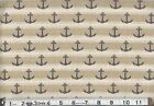 Navy Nautical anchors on beige stripe : 100% cotton by the 1/2 metre