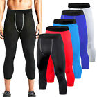 Mens Compression Shorts 3/4 Cropped Pants Gym Clothes Base Layers Running Tights