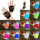 Women Short Dance Costume Party Lace Fingerless Fishnet Gloves Punk Goth Disco