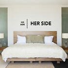 His Side Her Side. His & Hers Bedroom Wall Sticker / Decal - Wedding Gift