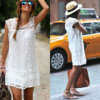 Sexy Womens Summer Lace Sleeveless Party Evening Cocktail Beach Mini Dress  FF