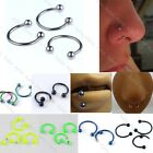 10pc Stainless Steel Hoop Horseshoe Cricular Ear Labret Nose Lip Septum Punk HOT