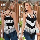Summer Women Sexy Strap Tank Top Camis Casual White Black Tassels Backless Shirt