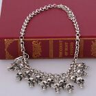 Stunning Vintage India tribal Antique Silver/Gold Skull Head Dangle Bib Necklace