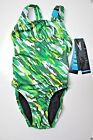 Speedo swimsuit one-piece Performance Racing camo Green Youth 12/28 6/22 8/24