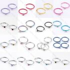 100pc Steel CZ Crystal Fake Cheater Captive Nose/Lip/Tragus/Cartilage Hoop Rings