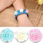 Resin Alloy Charms Rose Flower Snap Button Fit Punk Leather Bracelet DIY