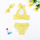 3PCS Girl's Swimwear Swimming Clothes Bikini Three-Piece Set Swimsuit Yellow