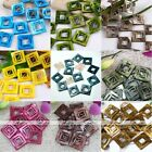 38mm Square Hollowed-out MOP Shell Loose Charm Beads Gemstone Natural Craft DIY